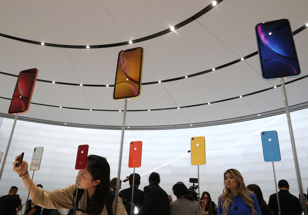 The new Apple iPhone XR is displayed during an Apple special event at the Steve Jobs Theatre on September 12, 2018 in Cupertino, California