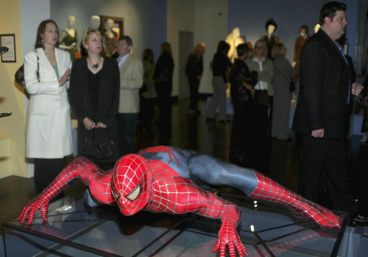 A costume from the film 'Spiderman 2' on display at the 13th Annual Exhibition 'The Art of Motion Picture Costume Design' at the FIDM Museum on January 29, 2005 in Los Angeles, California.