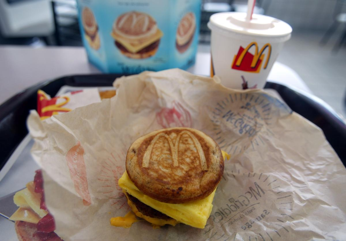 A cheese, sausage and egg McGriddles breakfast sandwich at a McDonald's is shown June 12, 2003 in Coral Gables, Florida