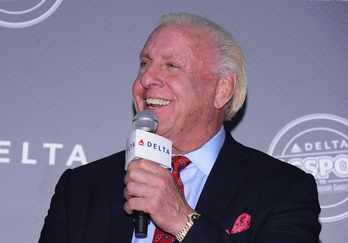 Ric Flair speaks at the Delta Air Lines VIP Reception & Chalk Talk, previewing the 'Delta Passport To Madison Square Garden,' a first-class sports and entertainment experience on March 3, 2015 in New York City