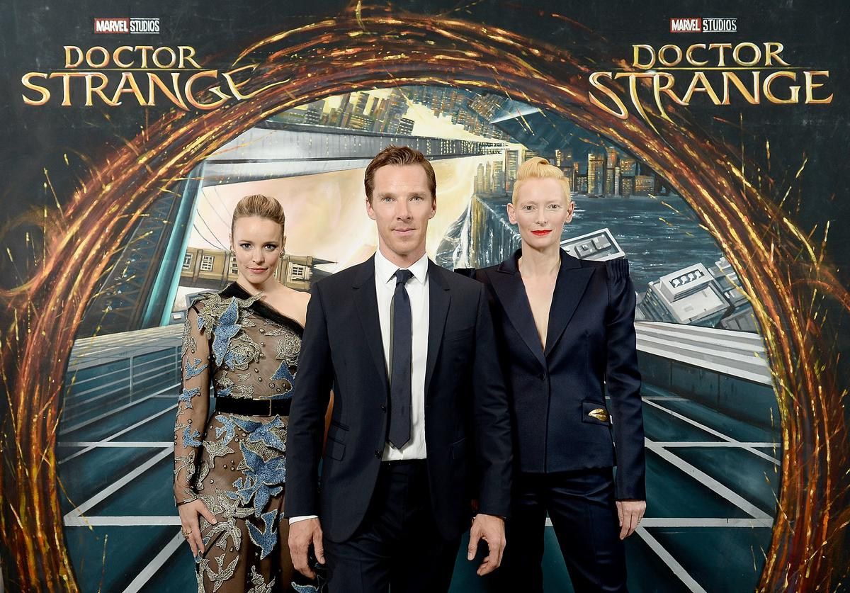 Rachel McAdams, Benedict Cumberbatch and Tilda Swinton in front of the Doctor Strange inspired 3D Art at a fan screening, to celebrate the release of Marvel Studio's Doctor Strange at the Odeon Leicester Square, on October 24, 2016 in London, United Kingdom.