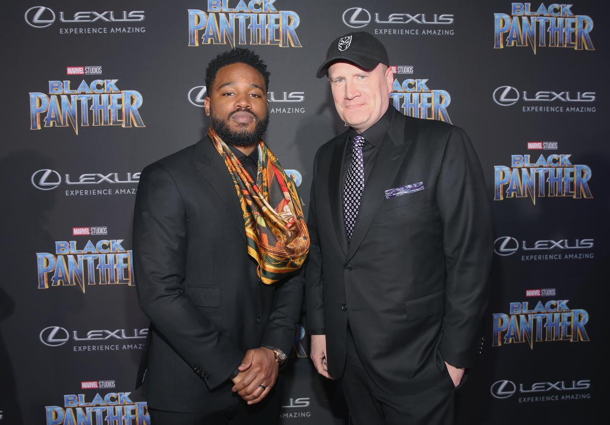Writer/director Ryan Coogler (L) and Marvel Studios President Kevin Feige at the Los Angeles World Premiere of Marvel Studios' BLACK PANTHER at Dolby Theatre on January 29, 2018 in Hollywood, California.