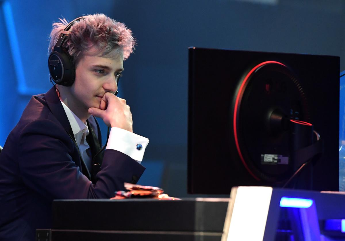 Twitch streamer and professional gamer Tyler 'Ninja' Blevins streams during Ninja Vegas '18 at Esports Arena Las Vegas at Luxor Hotel and Casino on April 21, 2018 in Las Vegas, Nevada. Blevins is playing against more than 230 challengers in front of 700 fans in 10 live 'Fortnite' games with up to USD 50,000 in cash prizes on the line. He is donating all his winnings to the Alzheimer's Association.