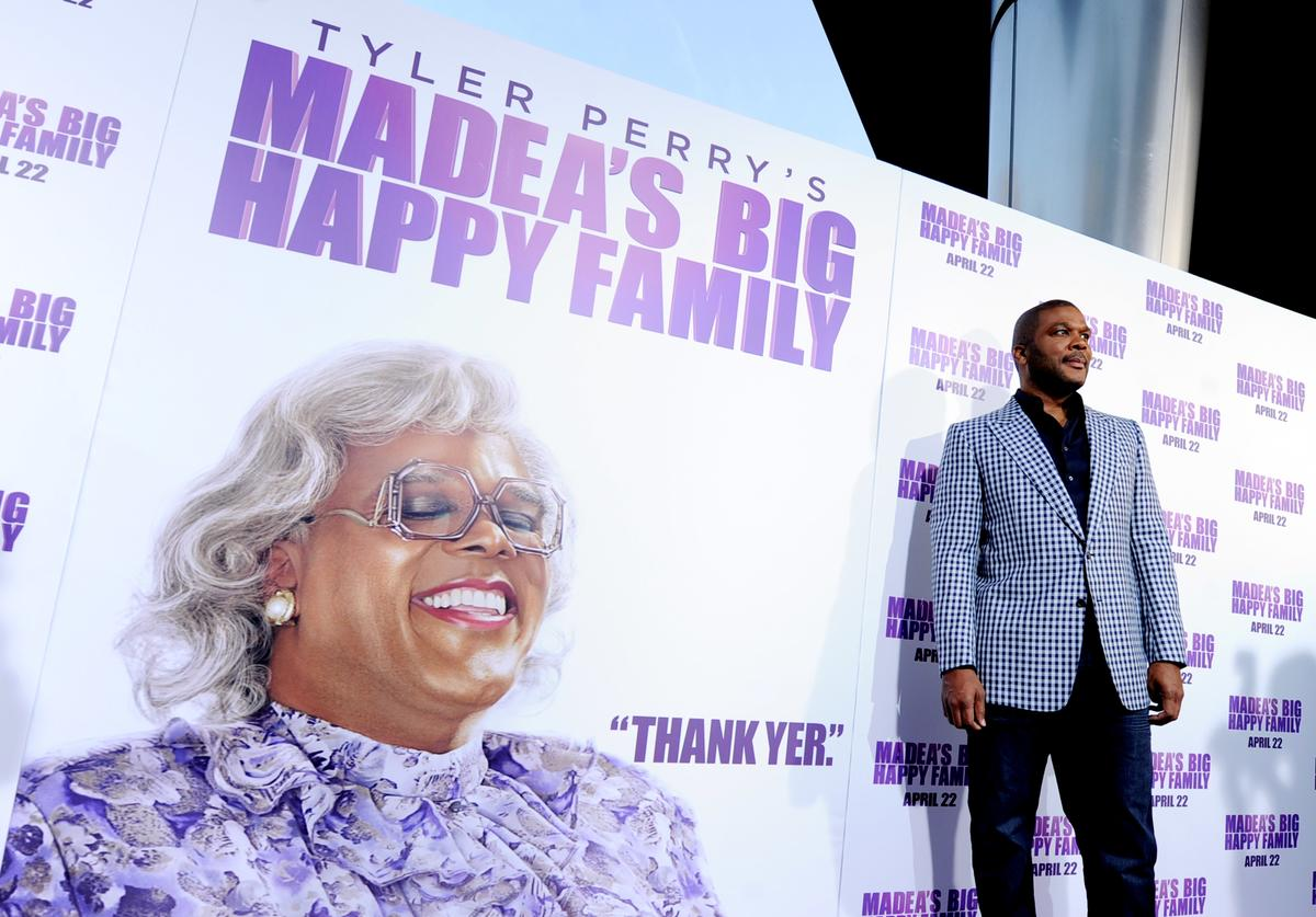 Tyler Perry arrives at a screening of Lionsgate Films' 'Tyler Perry's Madea's Big Happy Family' at the Cinerama Dome Theater on April 19, 2011 in Los Angeles, California