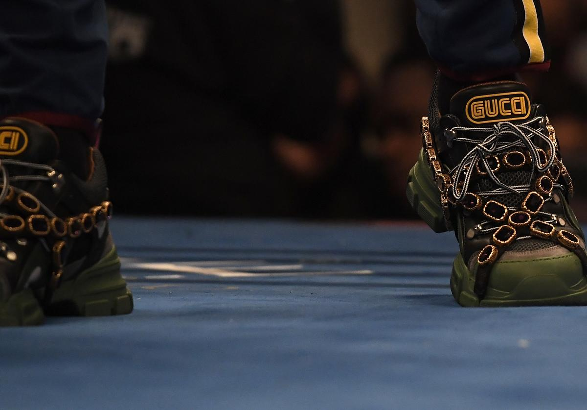 Jermall Charlo, twin brother of Jermell Charlo, wears Gucci shoes while standing in the ring before the start of the WBC Super Welterweight Title at Staples Center on June 9, 2018 in Los Angeles, California.