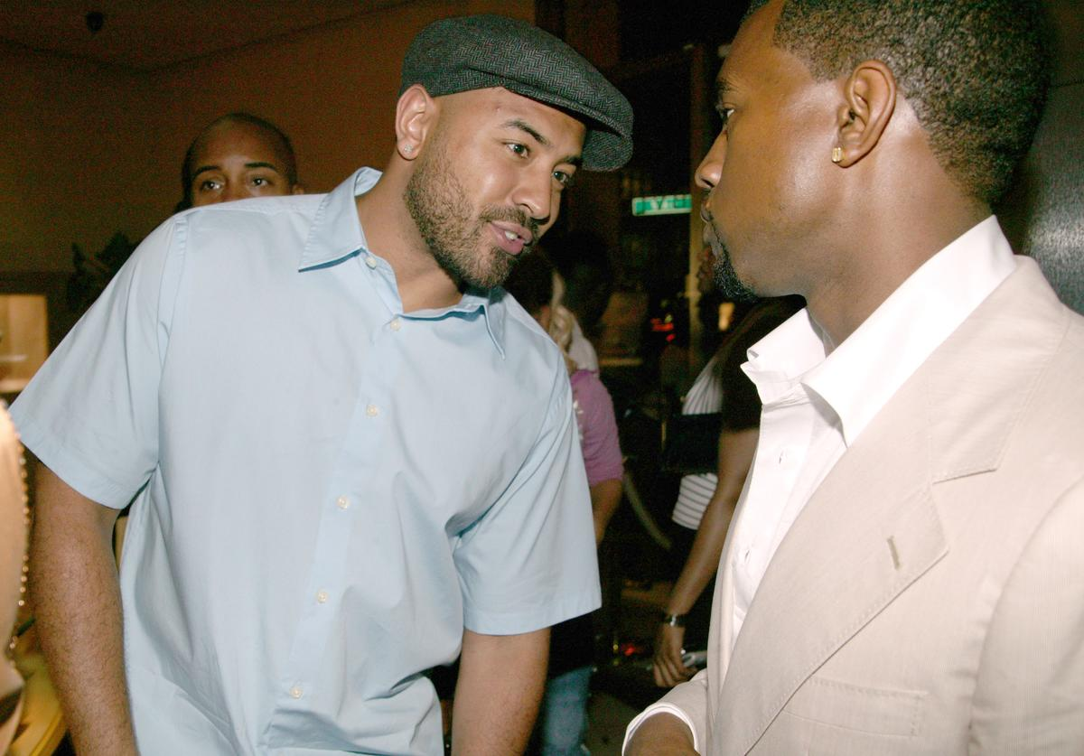 Ebro of Hot 97.1 FM and Kanye West during Kanye West 28th Birthday Party Presented by Urban Concepts at Bulgari Store 57th and 5th in New York City, New York, United States.
