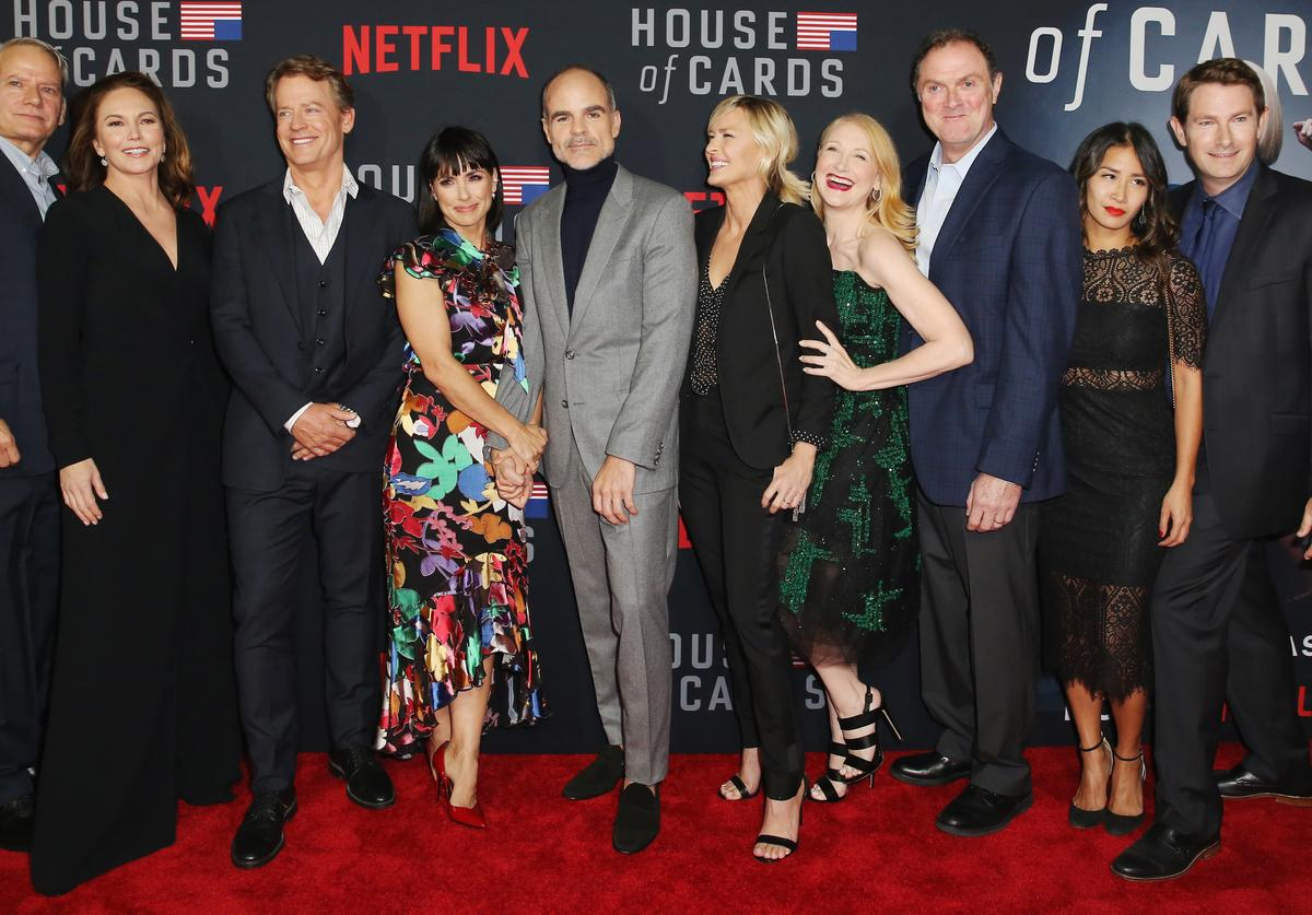 Campbell Scott, Diane Lane, Greg Kinnear, Constance Zimmer, Michael Kelly, Robin Wright, Patricia Clarkson, Boris McGiver, Nini Le Huynh and Derek Cecil attend 'House of Cards' Season 6 World Premiere on October 22, 2018 in Los Angeles, California.