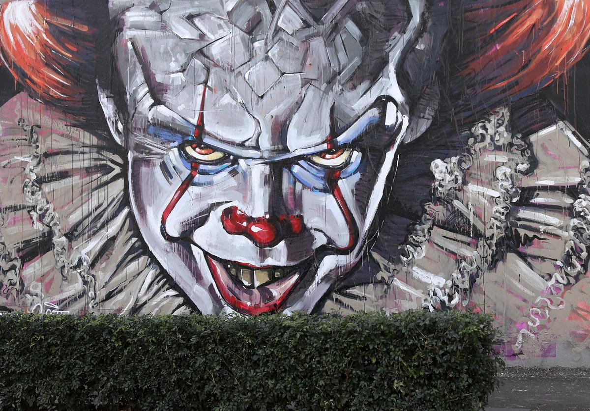 A wall mural of Pennywise the clown from the movie 'IT' painted by Scott Marsh is seen on Cleveland street wall in the suburb of Chippendale on August 28, 2017 in Sydney, Australia. The movie 'IT' based on the 1986 horror novel by American author Stephen King is set for release in cinemas on September 7th.