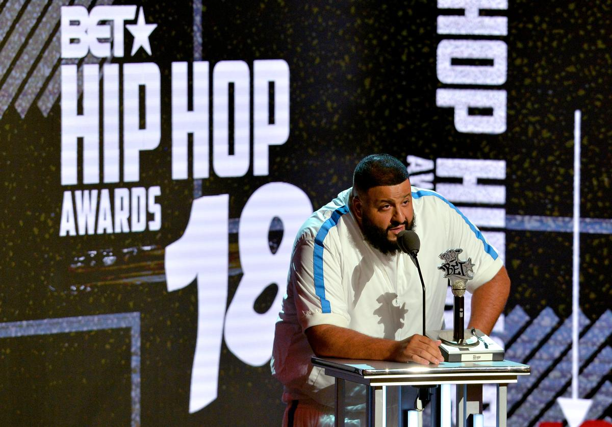 DJ Khaled speaks onstage during the BET Hip Hop Awards 2018 at Fillmore Miami Beach on October 6, 2018 in Miami Beach, Florida