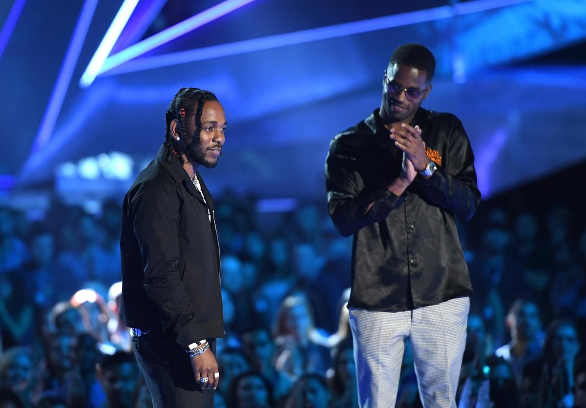 Kendrick Lamar (L) and Dave Free accept the Video of the Year award for 'Humble' onstage during the 2017 MTV Video Music Awards at The Forum on August 27, 2017 in Inglewood, California