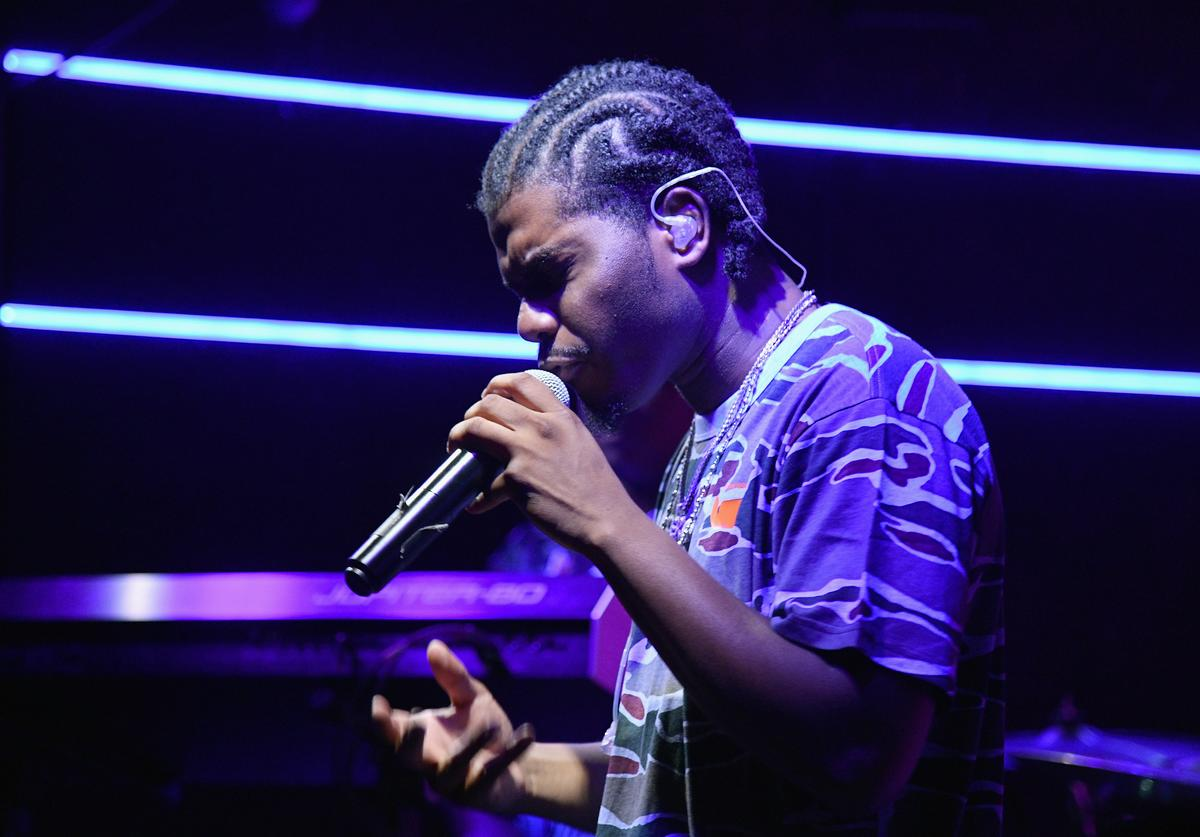 Rapper Smino performs to a packed house at Skullcandy Lunch Party for new Venue headphones at Zone One at Elsewhere in on August 13, 2018 in Brooklyn, New York.