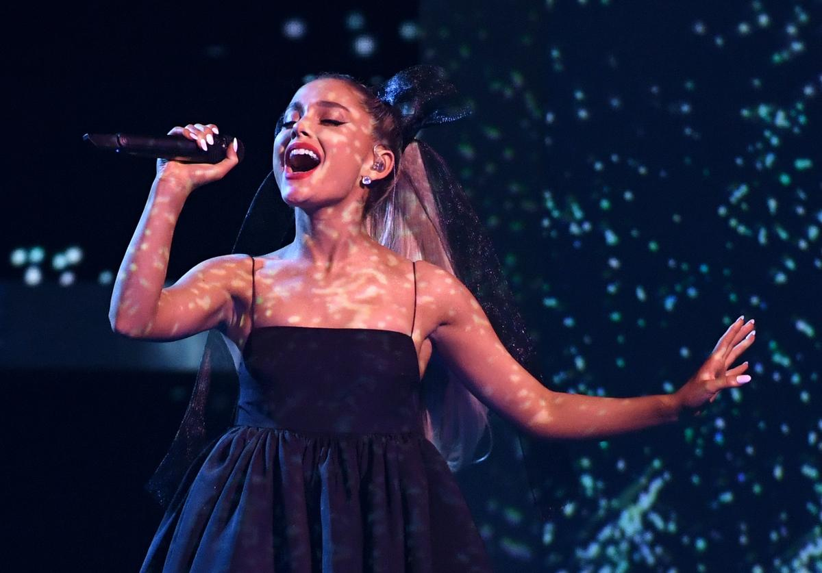 Recording artist Ariana Grande performs during the 2018 Billboard Music Awards at MGM Grand Garden Arena on May 20, 2018 in Las Vegas, Nevada.