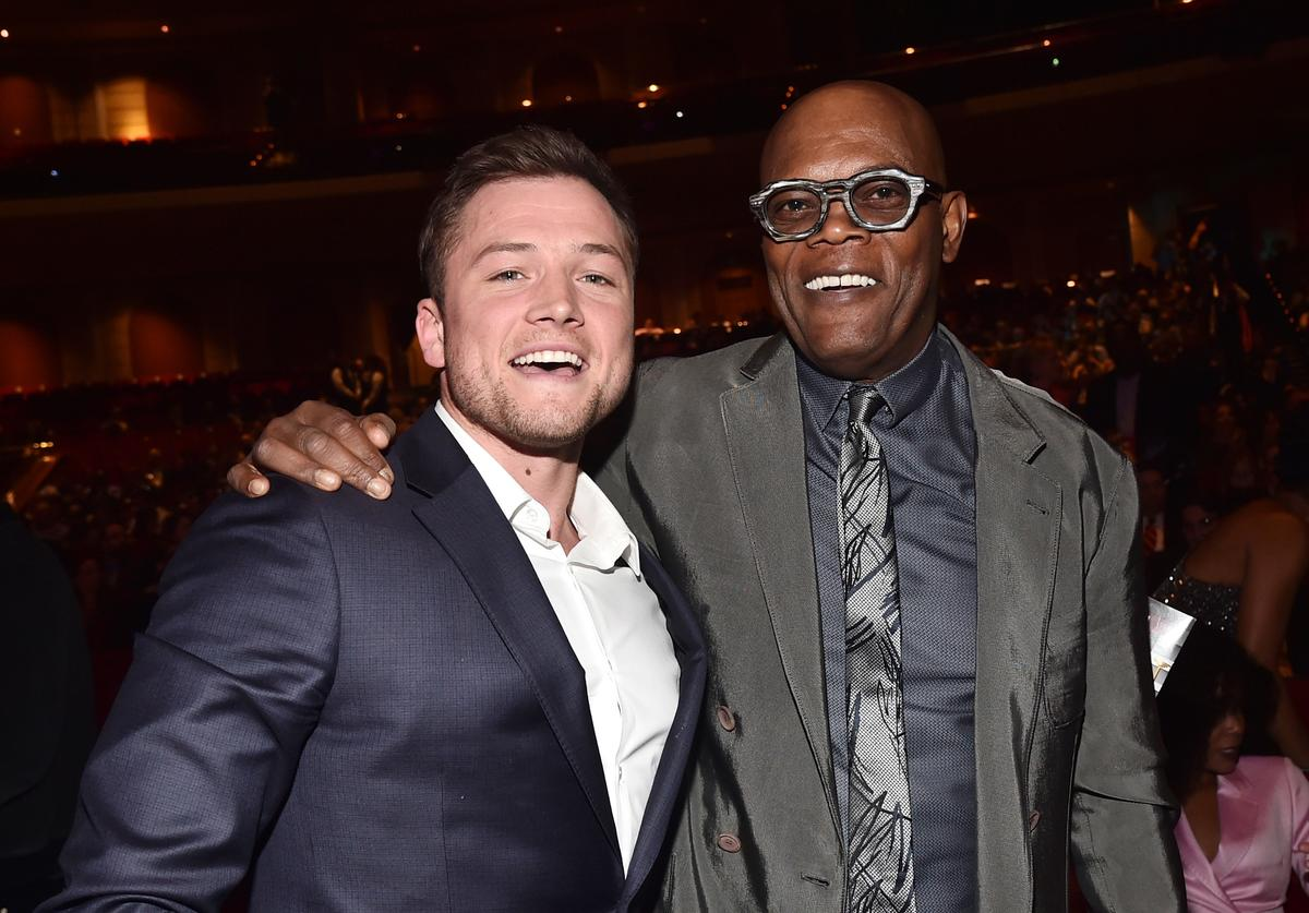 Actors Taron Egerton (L) and Samuel L. Jackson attend the CinemaCon Big Screen Achievement Awards brought to you by the Coca-Cola Company at The Colosseum at Caesars Palace during CinemaCon, the official convention of the National Association of Theatre Owners, on April 26, 2018 in Las Vegas, Nevada.