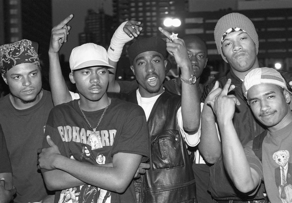 Rappers Nas, Tupac Shakur and Redman pose for a portrait at Club Amazon on July 23, 1993 in New York, New York.