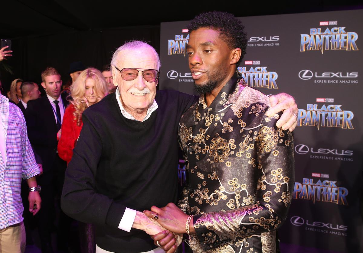 : Executive producer Stan Lee (L) and actor Chadwick Boseman at the Los Angeles World Premiere of Marvel Studios' BLACK PANTHER at Dolby Theatre on January 29, 2018 in Hollywood, California.