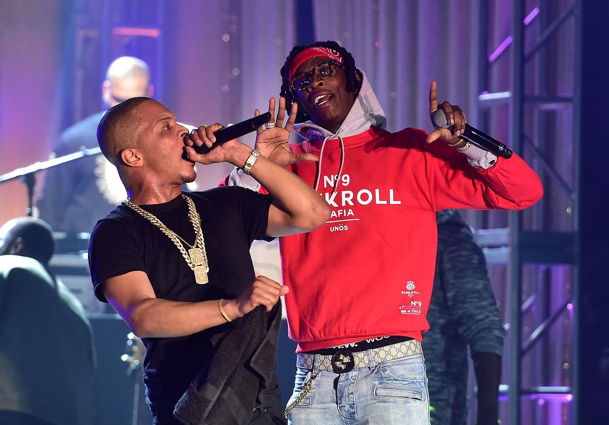 T.I. and Young Thug perform onstage at TIDAL X: TIP at Greenbriar Mall on February 22, 2016 in Atlanta, Georgia
