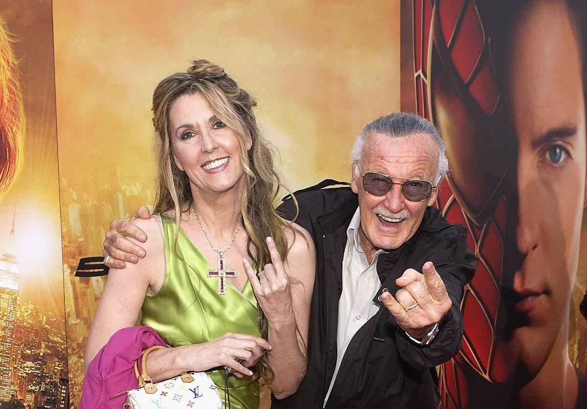Stan Lee and daughter attend the premiere of the Sony film 'Spider-Man 2' on June 22, 2004 at the Mann Village Theater, in Westwood, California