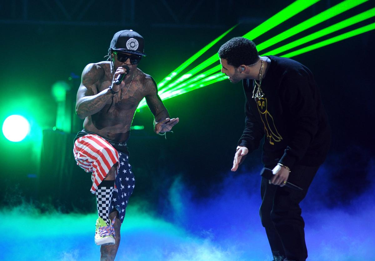 Lil Wayne (L) and singer Drake perform onstage during the BET Awards '11 held at the Shrine Auditorium on June 26, 2011 in Los Angeles, California