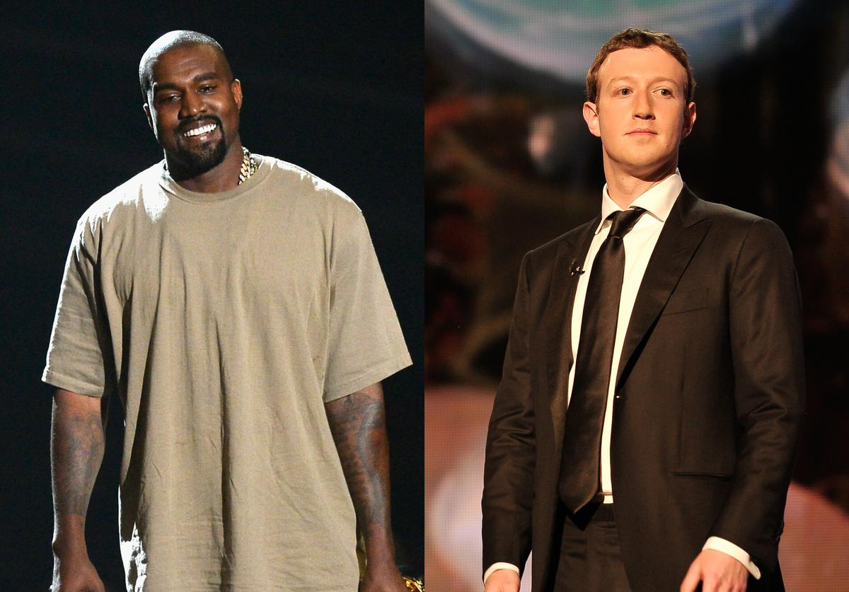 Vanguard Award winner Kanye West speaks onstage during the 2015 MTV Video Music Awards at Microsoft Theater on August 30, 2015 in Los Angeles, California. Mark Zuckerberg is a presenter at the 2014 Breakthrough Prizes Awarded in Fundamental Physics and Life Sciences Ceremony at NASA Ames Research Center on December 12, 2013 in Mountain View, California.