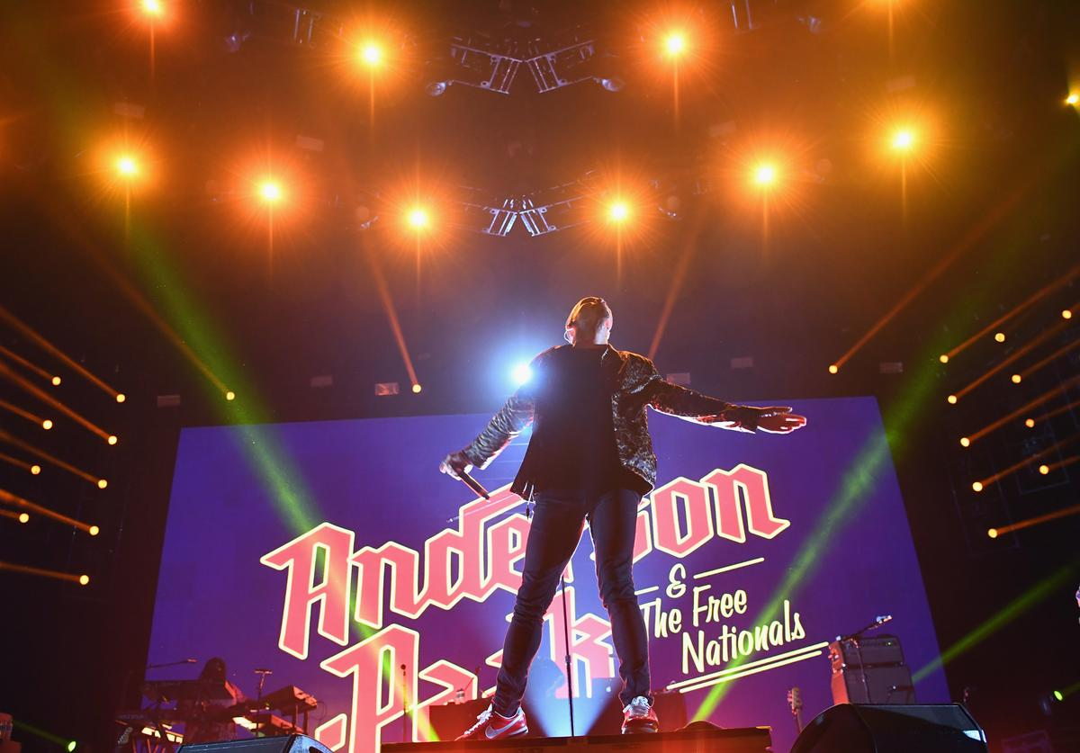 Anderson .Paak & The Free Nationals perform onstage during day 1 of FYF Fest 2017 on July 21, 2017 at Exposition Park in Los Angeles, California.