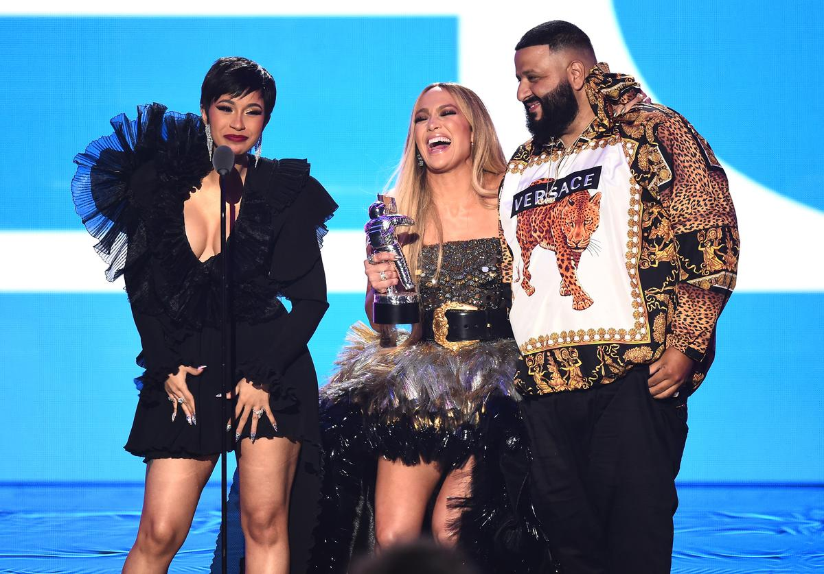 Cardi B, Jennifer Lopez, and DJ Khaled accept the award for Best Collaboration onstage during the 2018 MTV Video Music Awards at Radio City Music Hall on August 20, 2018 in New York City