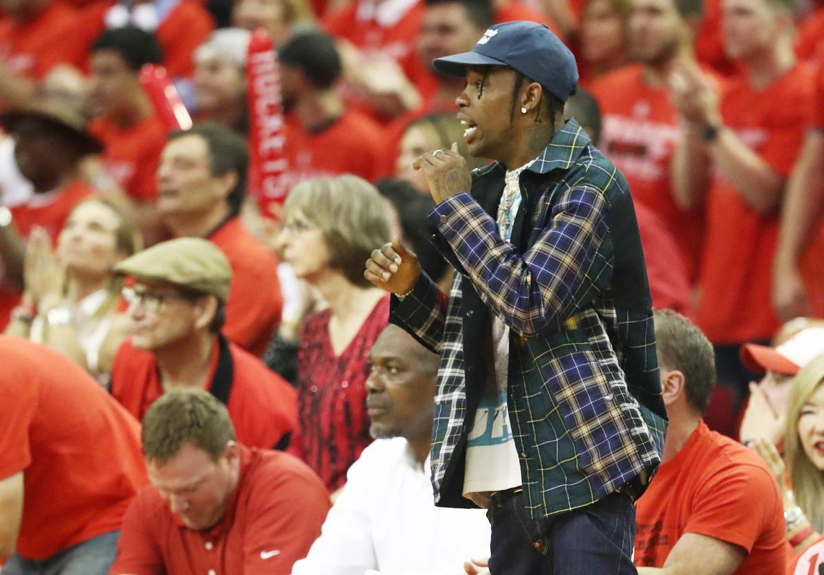 Travis Scott attends Game Seven of the Western Conference Finals of the 2018 NBA Playoffs between the Houston Rockets and the Golden State Warriors at Toyota Center on May 28, 2018 in Houston, Texas