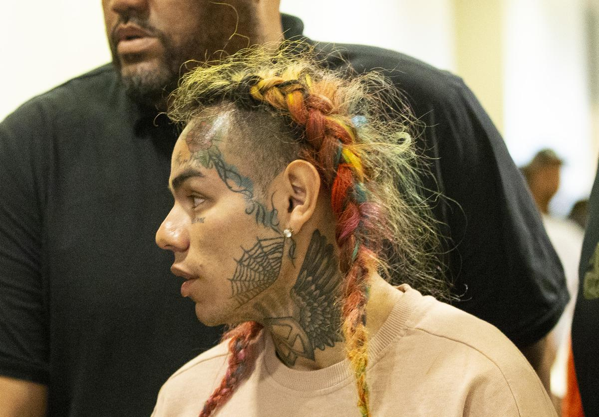 Rapper Tekashi69, real name Daniel Hernandez and also known as 6ix9ine, Tekashi 6ix9ine, Tekashi 69, arrives for his arraignment on assault charges in County Criminal Court #1 at the Harris County Courthouse on August 22, 2018 in Houston, Texas.