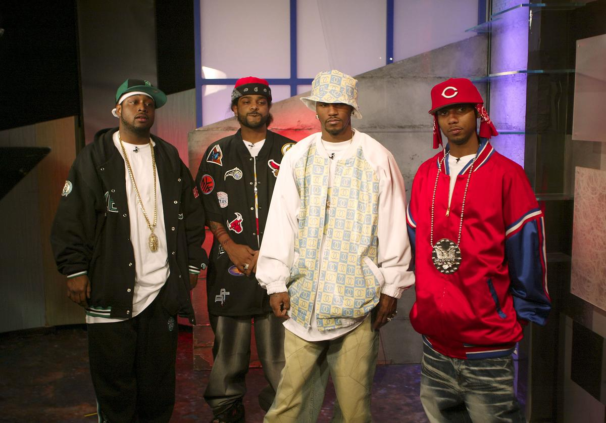 Cam'ron (2nd from R) and the Diplomats appear for an interview on MTV2 April 4, 2003 at the MTV Times Square Studios in New York City. Freekey Zekey stands at left.
