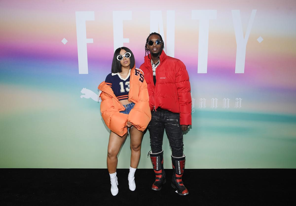 Cardi B (L) and Offset of Migos attend the FENTY PUMA by Rihanna Spring/Summer 2018 Collection at Park Avenue Armory on September 10, 2017 in New York City