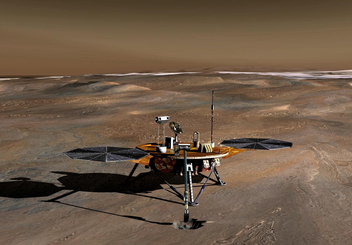 In this handout illustration provided by NASA/JPL, an artist's conception of the Phoenix Mars Lander on the Red Planet. Phoenix is slated to land on Mars on May 25, 2008. Launched in the summer of 2007 the lander will join the twin Mars rovers, Spirit and Opportunity and will study whether permafrost could have supported primitive life on the planet.