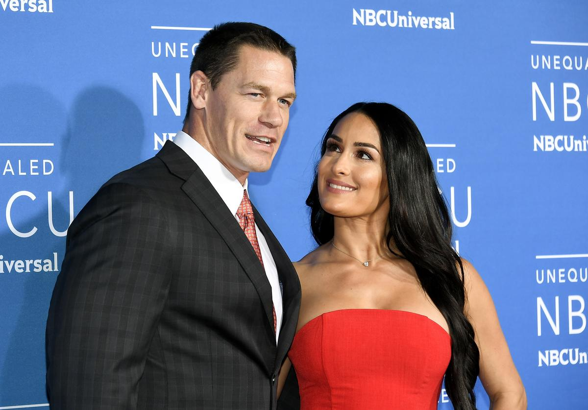 John Cena (L) and Nikki Bella attend the 2017 NBCUniversal Upfront at Radio City Music Hall on May 15, 2017 in New York City