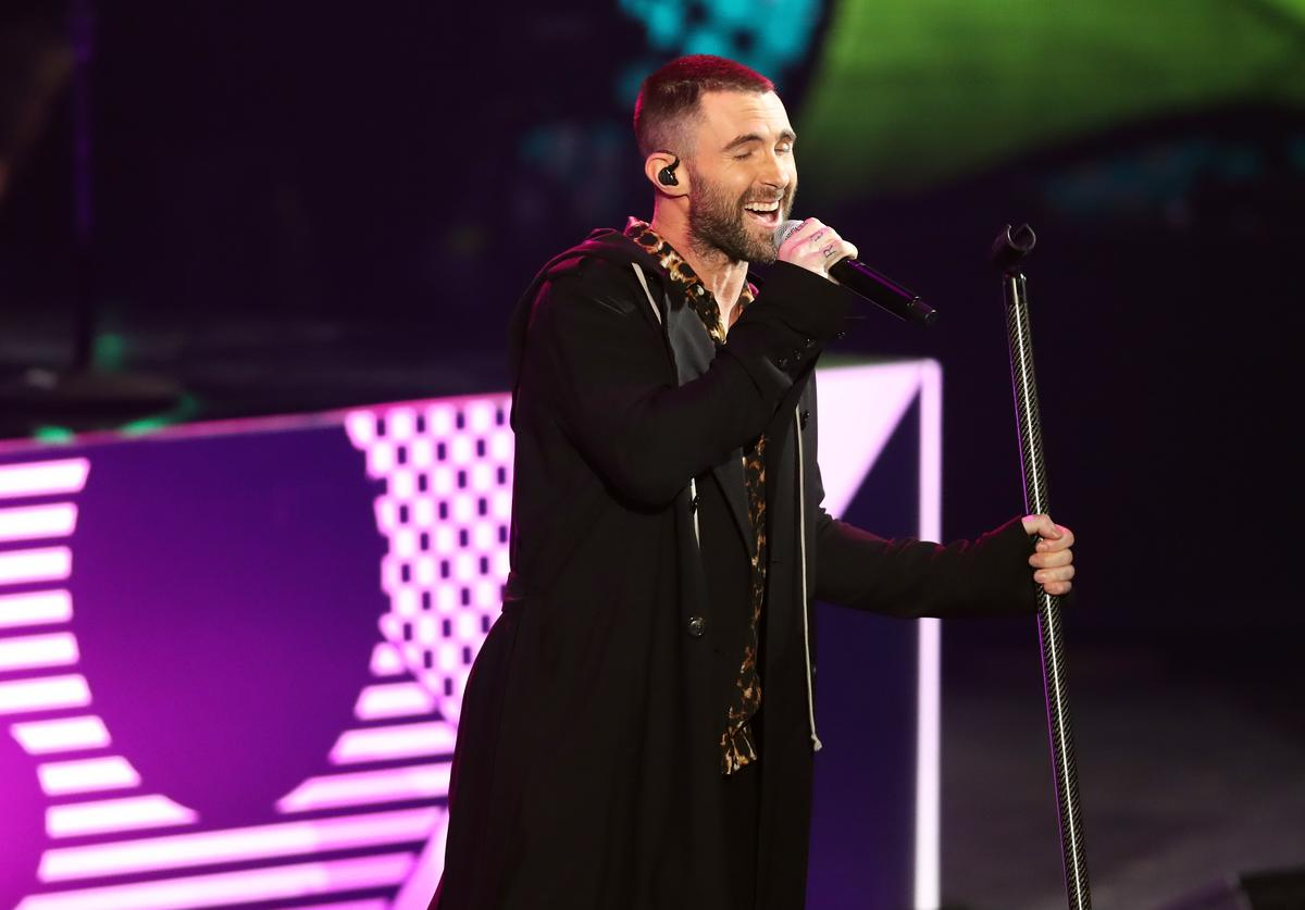 Adam Levine of Maroon 5 performs onstage during the 2018 iHeartRadio Music Awards which broadcasted live on TBS, TNT, and truTV at The Forum on March 11, 2018 in Inglewood, California