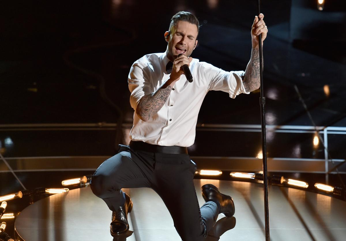 Singer Adam Levine of Maroon 5 performs 'Lost Stars' from 'Begin Again' onstage during the 87th Annual Academy Awards at Dolby Theatre on February 22, 2015 in Hollywood, California.