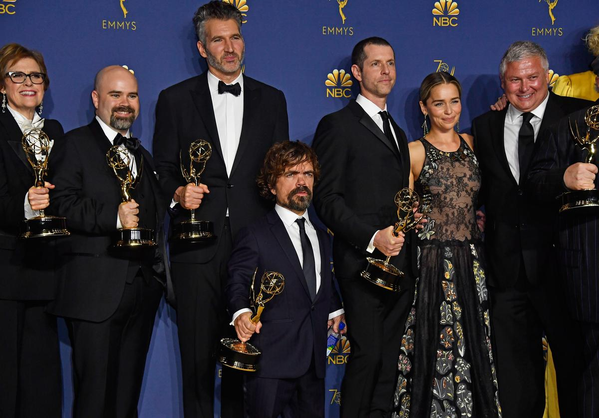 Cast and crew of Outstanding Drama Series winner 'Game of Thrones' pose in the press room during the 70th Emmy Awards at Microsoft Theater on September 17, 2018 in Los Angeles, California.