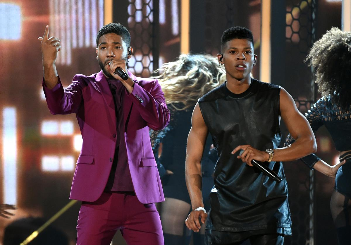 Actor/singers Jussie Smollett (L) and Bryshere Y. Gray perform onstage during the 2015 Billboard Music Awards at MGM Grand Garden Arena on May 17, 2015 in Las Vegas, Nevada.