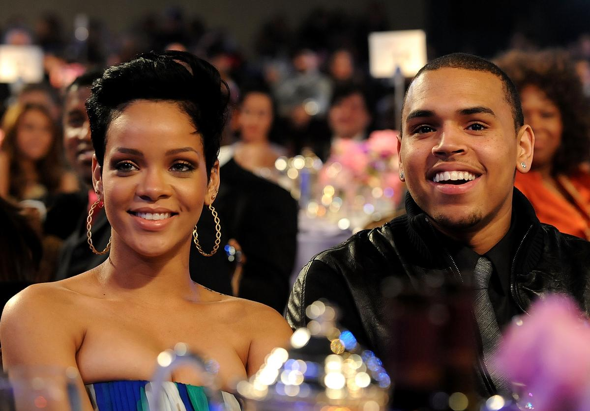 Rihanna and Chris Brown attend the 2009 GRAMMY Salute To Industry Icons honoring Clive Davis at the Beverly Hilton Hotel on February 7, 2009 in Beverly Hills, California