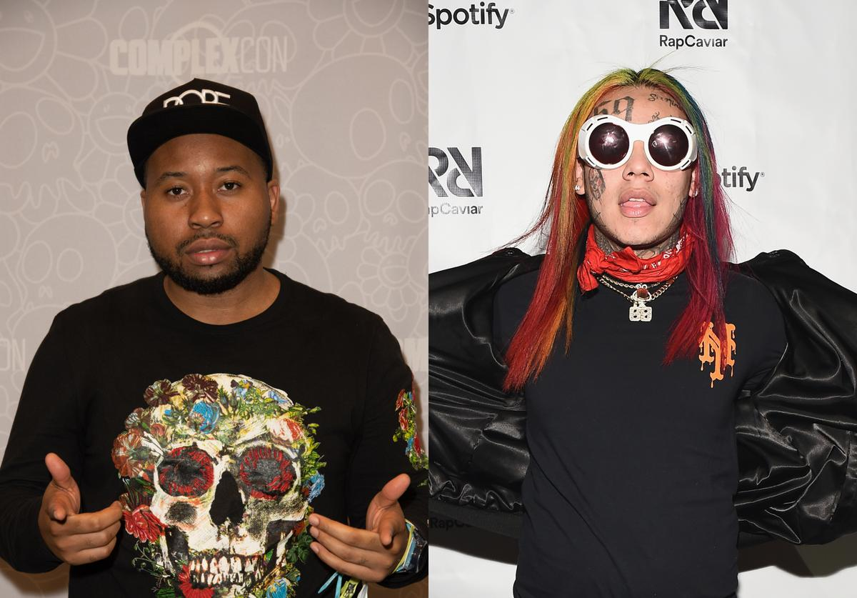DJ Akademiks attends 2018 ComplexCon-Day 1 at Long Beach Convention Center on November 3, 2018 in Long Beach, California; 6ix9nine attends Spotify's RapCaviar Live in New York at Hammerstein Ballroom on November 21, 2017 in New York City.