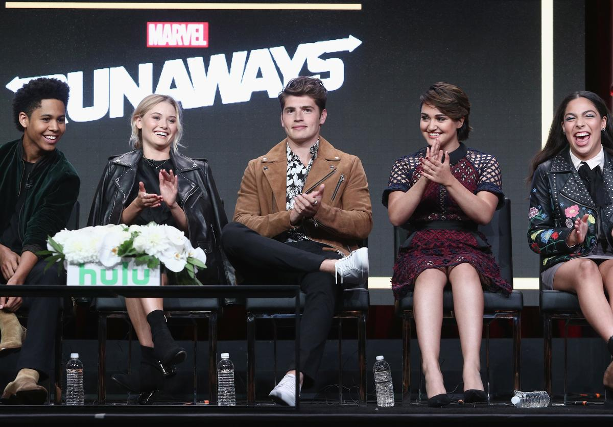 Rhenzy Feliz, Virginia Gardner, Gregg Sulkin, Ariela Barer and Allegra Acosta of 'Marvel's Runaways' speak onstage during the Hulu portion of the 2017 Summer Television Critics Association Press Tour at The Beverly Hilton Hotel on July 27, 2017 in Beverly Hills, California.