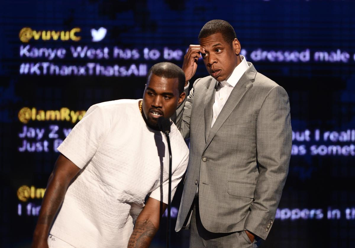Recording artists Kanye West (L) and Jay-Z accept the award for Video of the Year onstage during the 2012 BET Awards at The Shrine Auditorium on July 1, 2012 in Los Angeles, California.