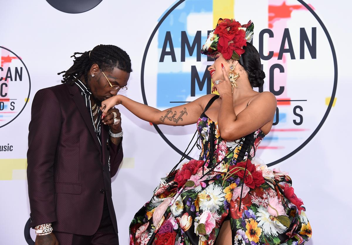 Offset (L) and Cardi B attends the 2018 American Music Awards at Microsoft Theater on October 9, 2018 in Los Angeles, California.
