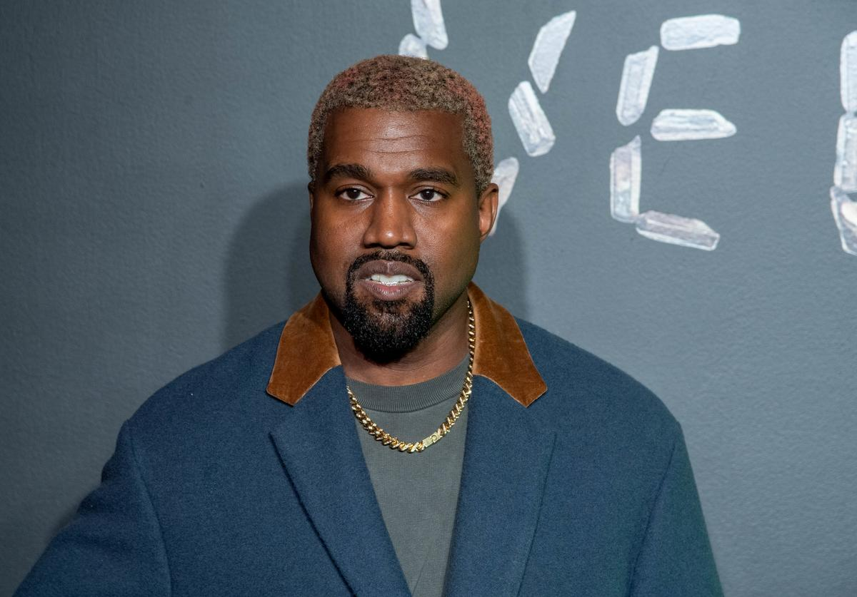 Kanye West attends the the Versace fall 2019 fashion show at the American Stock Exchange Building in lower Manhattan on December 02, 2018 in New York City