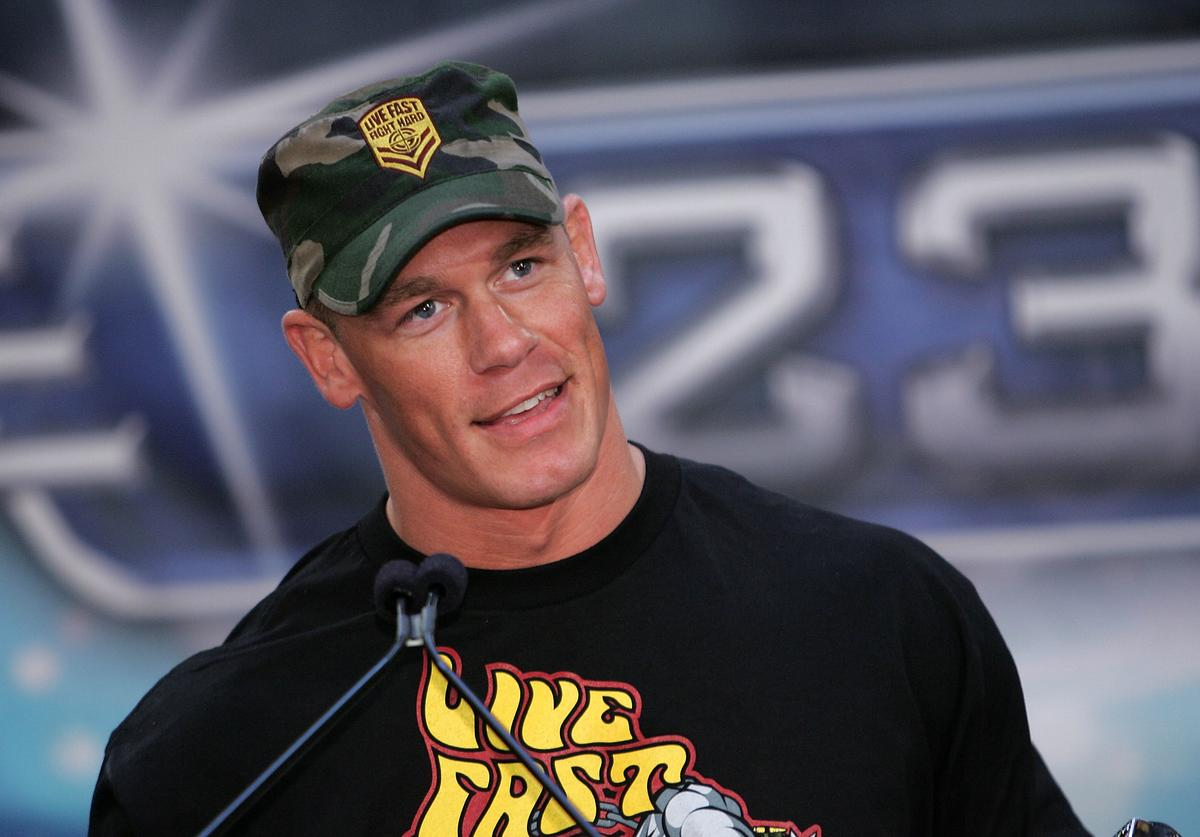 Wrestler John Cena speaks at the press conference held by Battle of the Billionaires to announce details of Wrestlemania 23 at Trump Tower on March 28, 2007 in New York City.