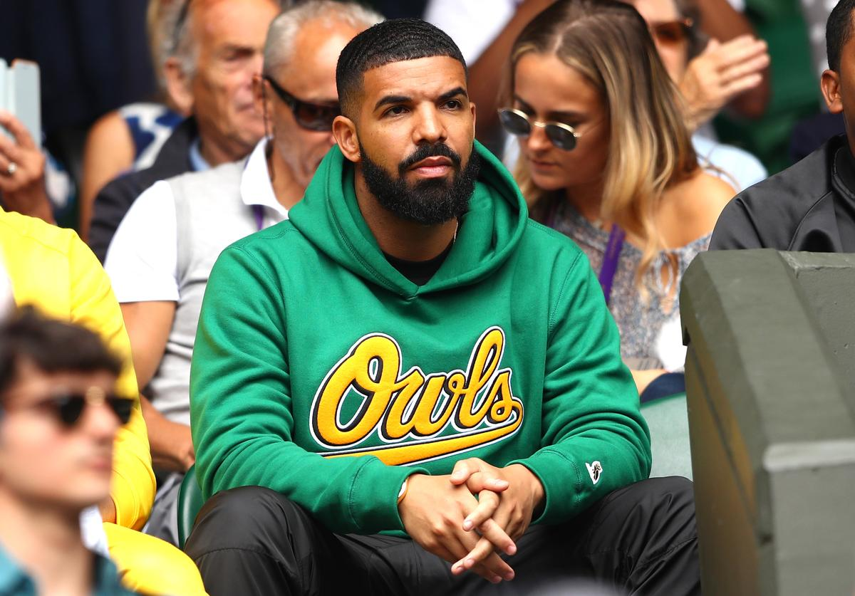 Rapper Drake attends day eight of the Wimbledon Lawn Tennis Championships at All England Lawn Tennis and Croquet Club on July 10, 2018 in London, England