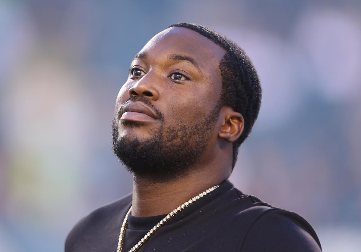 Meek Mill looks on before the game between the Atlanta Falcons and the Philadelphia Eagles at Lincoln Financial Field on September 6, 2018 in Philadelphia, Pennsylvania