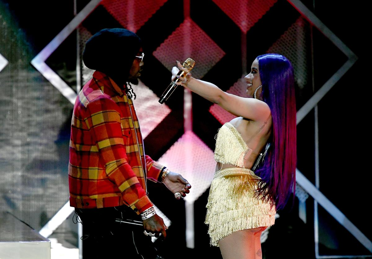 Offset (L) and Cardi B perform onstage during 102.7 KIIS FM's Jingle Ball 2018 Presented by Capital One at The Forum on November 30, 2018 in Inglewood, California