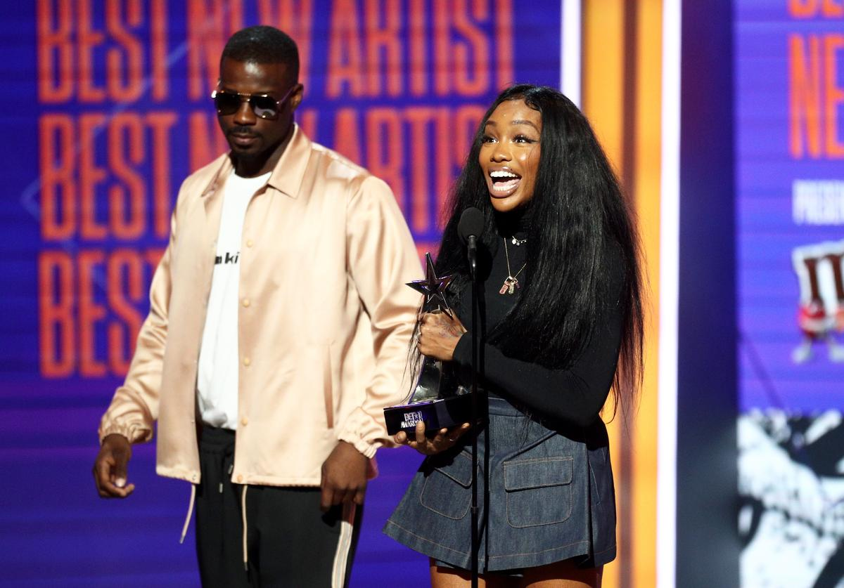 SZA (R) accepts Best New Artist onstage at the 2018 BET Awards at Microsoft Theater on June 24, 2018 in Los Angeles, California