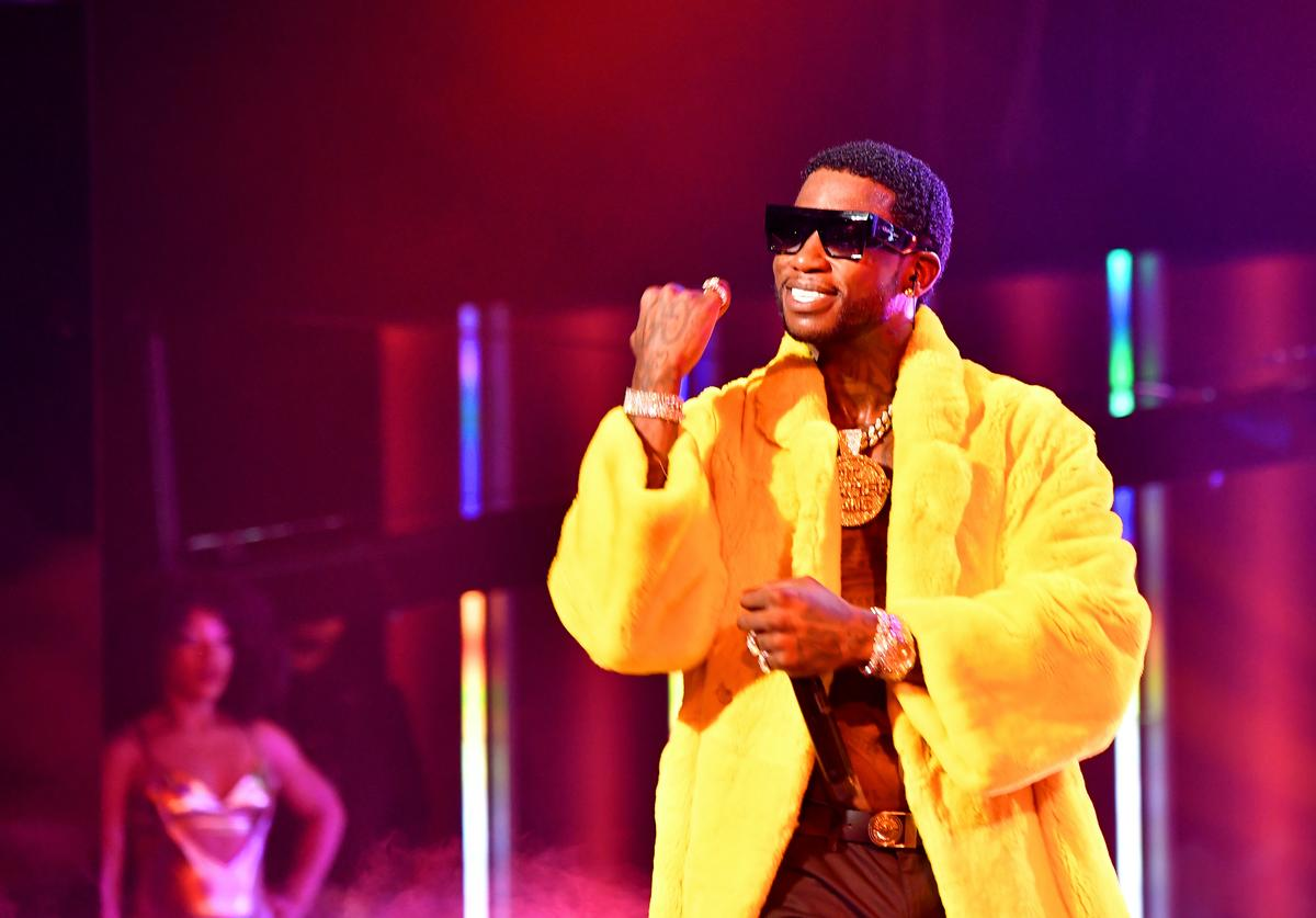 Gucci Mane performs onstage during the BET Hip Hop Awards 2018 at Fillmore Miami Beach on October 6, 2018 in Miami Beach, Florida.