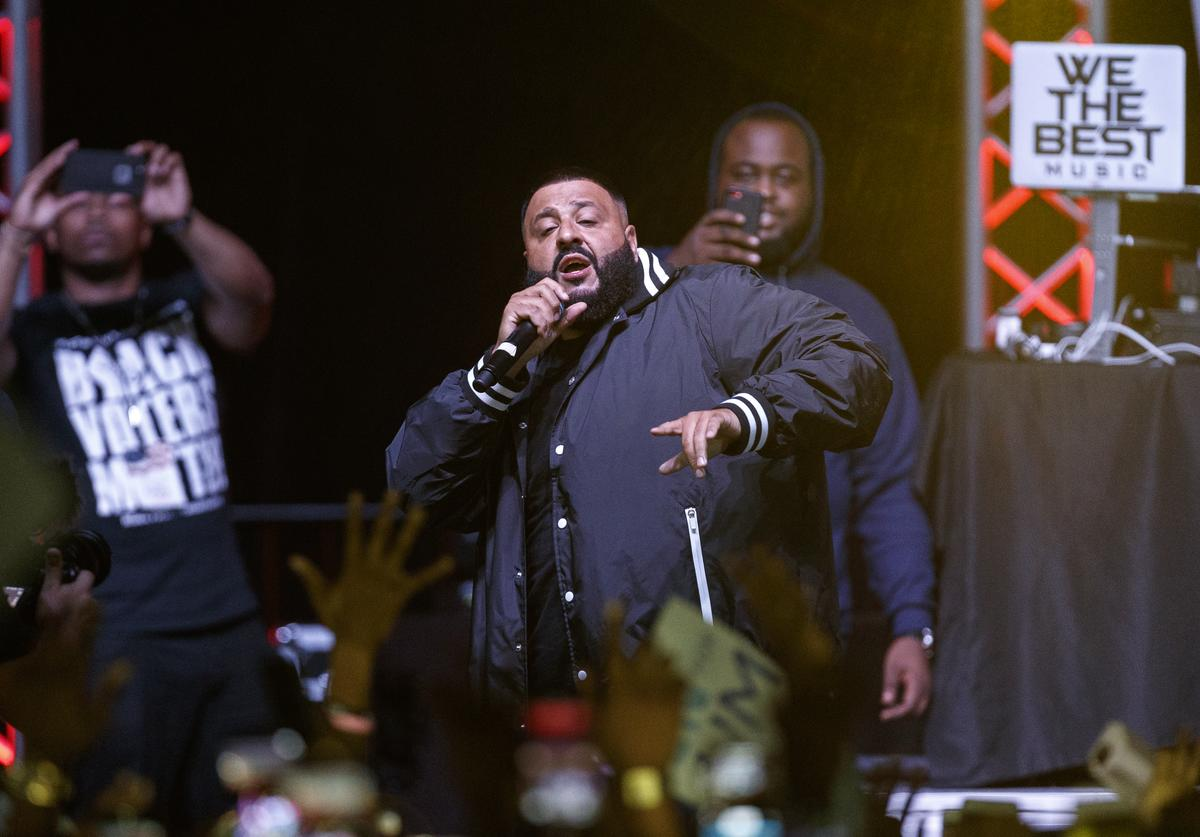 DJ Khaled performs during the 'Bring It Home Midnight Rally' at Lawson Center on the campus of Florida A&M University on November 5, 2018 in Tallahassee, Florida