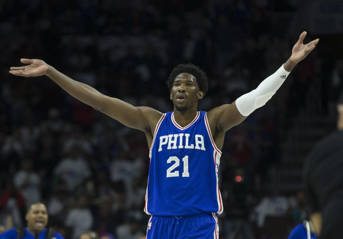 Joel Embiid #21 of the Philadelphia 76ers reacts against the Oklahoma City Thunder at Wells Fargo Center on October 26, 2016 in Philadelphia, Pennsylvania. NOTE TO USER: User expressly acknowledges and agrees that, by downloading and or using this photograph, User is consenting to the terms and conditions of the Getty Images License Agreement.