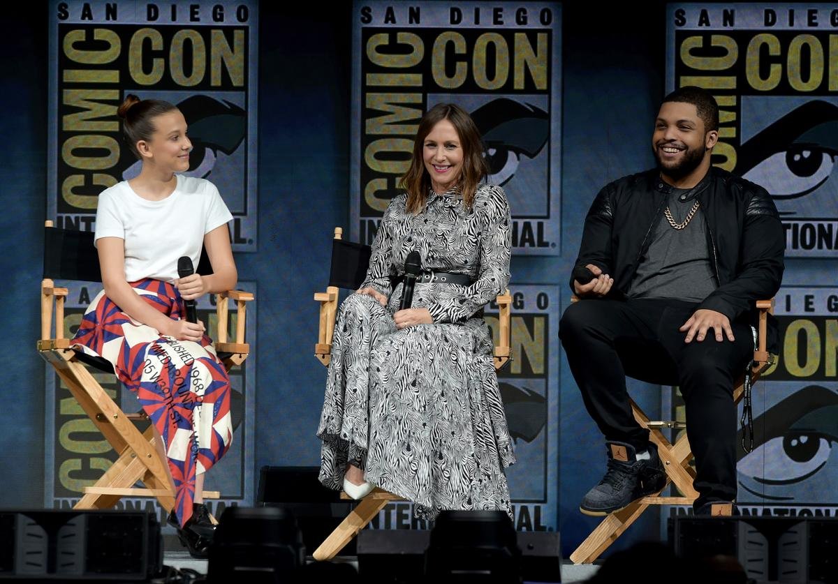 Millie Bobby Brown, Vera Farmiga and O'Shea Jackson Jr. speak onstage at the Warner Bros. 'Godzilla: King of the Monsters' theatrical panel during Comic-Con International 2018 at San Diego Convention Center on July 21, 2018 in San Diego, California